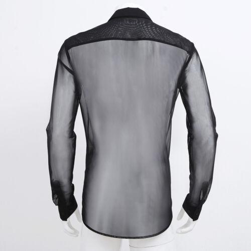 herren hemd langarm shirts tops transparent mesh sexy t. Black Bedroom Furniture Sets. Home Design Ideas
