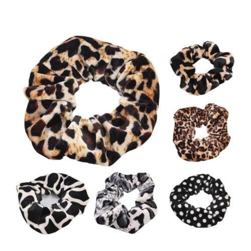 Womens Girls Leopard Animal Print Elastic Hair Bands Scrunch