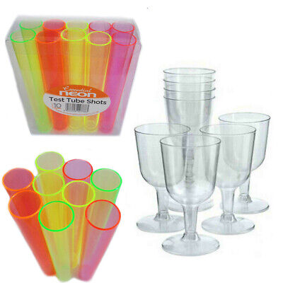 Disposable Wine Glasses CLEAR Goblets Plastic Flute Shot Party Tube NEON Drink