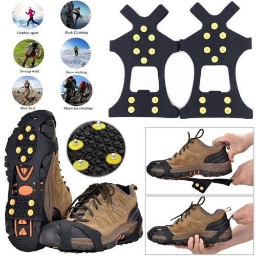 Ice Snow Grips Anti Slip On Over Shoe Boot Studs Crampons Cleats Spikes Grippers Climbing & Caving