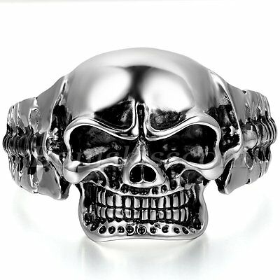 Men Biker Big Heavy Black Silver Tone Stainless Steel Skull Bangle Cuff Bracelet