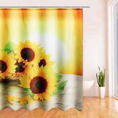 "US 71x71"" Sunshine Sunflower Bath Waterproof Polyester Shower Curtain + 12 Hooks"