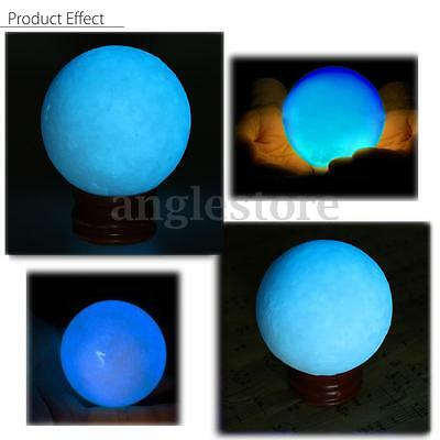 50mm Blue Glow In Dark Stone Quartz Crystal Sphere Luminous Ball & Base Stand