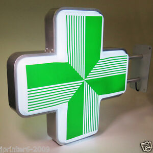 LED Sign  Pharmacy Shop Projecting Light box Outdoor Green Cross 55 55cm