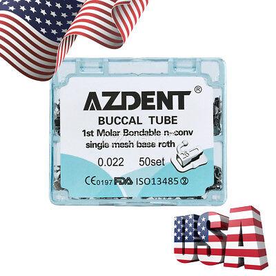 Dental Orthodontic Buccal Tube Bondable Roth 022 Mesh Base 1st Molar Azdent Usa