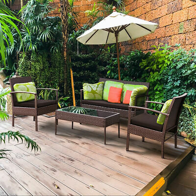 Garden Furniture - 4 PCS Patio Rattan Wicker Furniture Set Loveseat Sofa Cushioned Garden Yard New