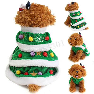 Christmas Tree Pet Dog Cat Coat Puppy Sweater Clothes Costumes Apparel Cute - Christmas Tree Costumes