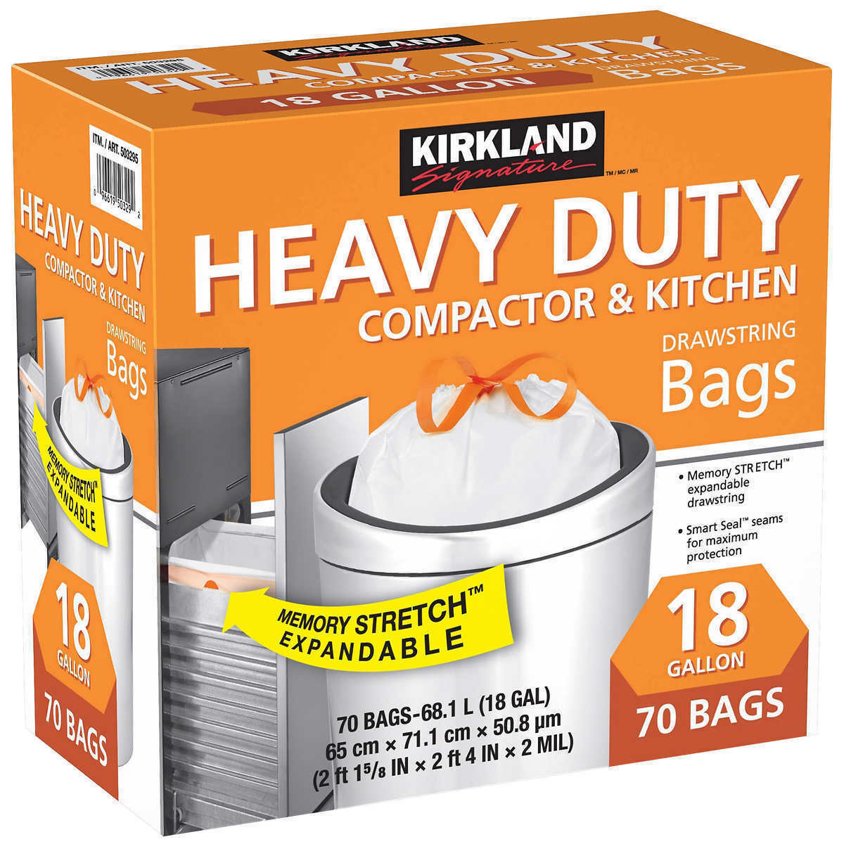Kirkland 18-Gallon Compactor & Kitchen Trash Bag, 70-count,