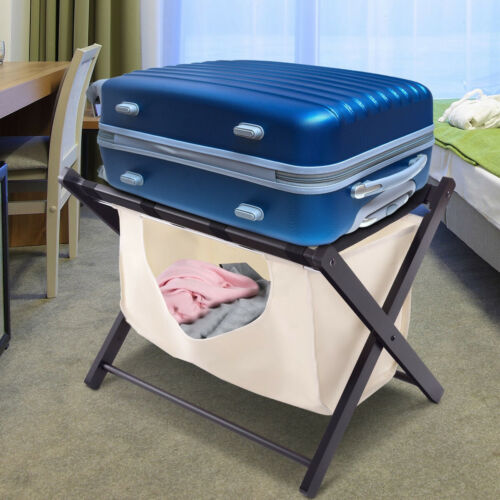 Foldable Home Wood Luggage Rack Suitcase Holder Stand Curved