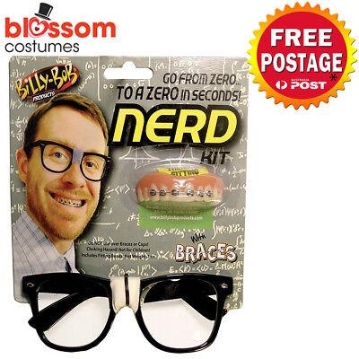 Costume Glasses Braces Geek School Boy 50s Accessories Kit (Billy Bob Braces)