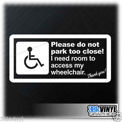 Disabled Mobility Wheelchair Access Required Car Van Window Bumper Sticker Decal