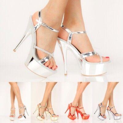 Stripper Dancer Shoes Mirror Metallic Rhinestones Platform High Stilettos Heels (Rhinestone Stripper Heels)