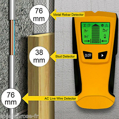 3in1 Stud Scanner AC Live Wire Finder Wood Metal Pipe Wall Detector Layout Tools