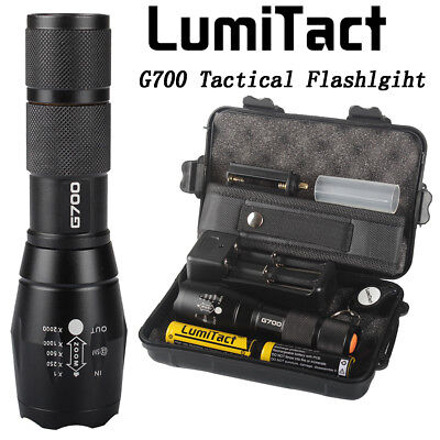 Bright 10000lm Lumitact G700 Tactical Flashlight Military Grade Torch 2xBattery