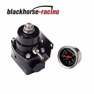 Universal Adjustable Fuel Pressure Regulator+100psi Gauge Kit 6AN Fitting -