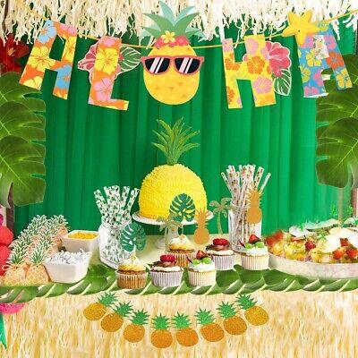 Hawaii Decoration Party (79 PCS Hawaii Tropical Safari Party Decor Set Sunglasses Pineapple Banner)