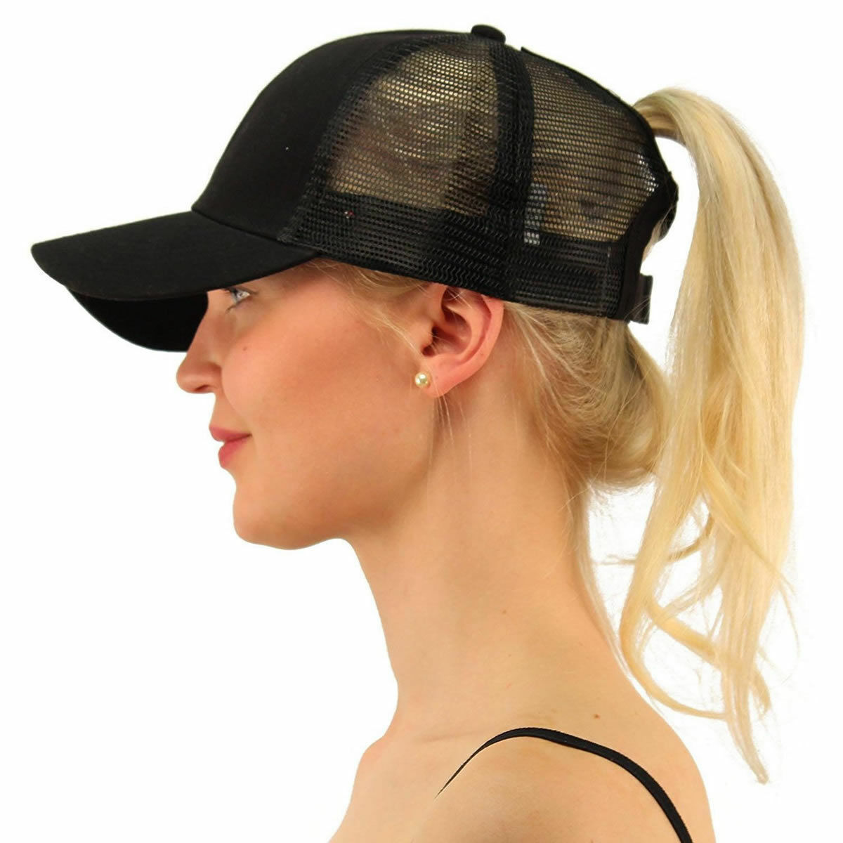 NEW Breathable Black High Bun Ponytail Adjustable Mesh Trucker Baseball Cap Hat Clothing, Shoes & Accessories