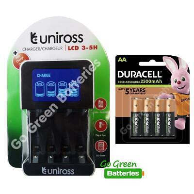 Uniross LCD Intelligent AA/AAA Fast Charger + 4x Duracell AA 2500mAh Batteries