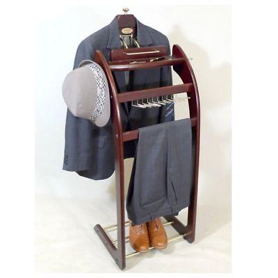 Valet Suit Stand Mens Rack Wood Wardrobe Storage Organizer Coat Clothes Butler