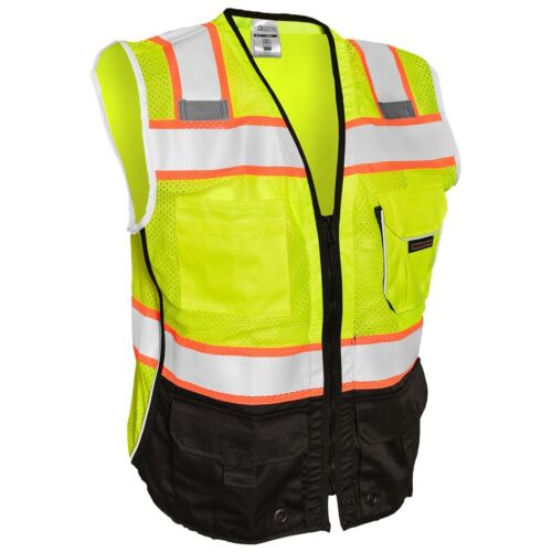 ML Kishigo Class 2 Reflective Black Bottom Safety Vest with Pockets, Yellow/Lime
