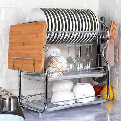 3 Tier Plate Rack (3-Tier Dish Plate Cup Drying Rack Organizer Drainer Alloy Storage Holder)