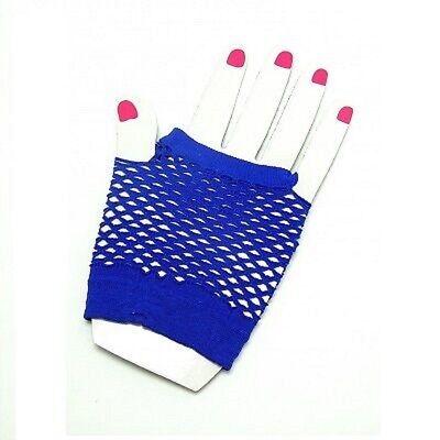 Neon Farben Shorts Fischnetz Kostüm Fingerlose Handschuhe Königsblau 80s Jahre