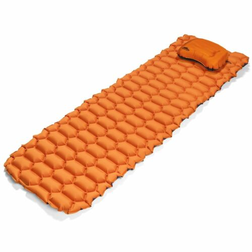 Cascade Mountain Tech Inflatable Outdoor Camping Sleeping Pad & Pillow Orange
