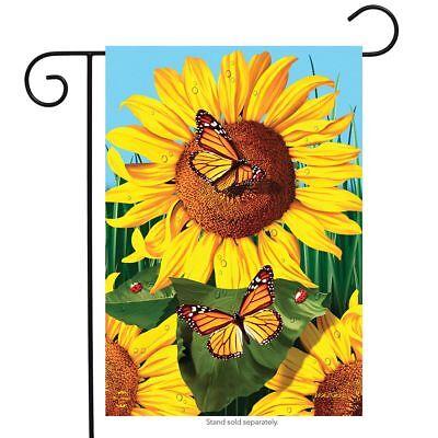 """Sunflower Field Summer Garden Flag Butterflies Floral 12.5"""""""
