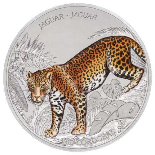 2018 Nicaragua Wildlife Jaguar 1 oz Silver Colorized Gem Proof OGP Coin SKU53801