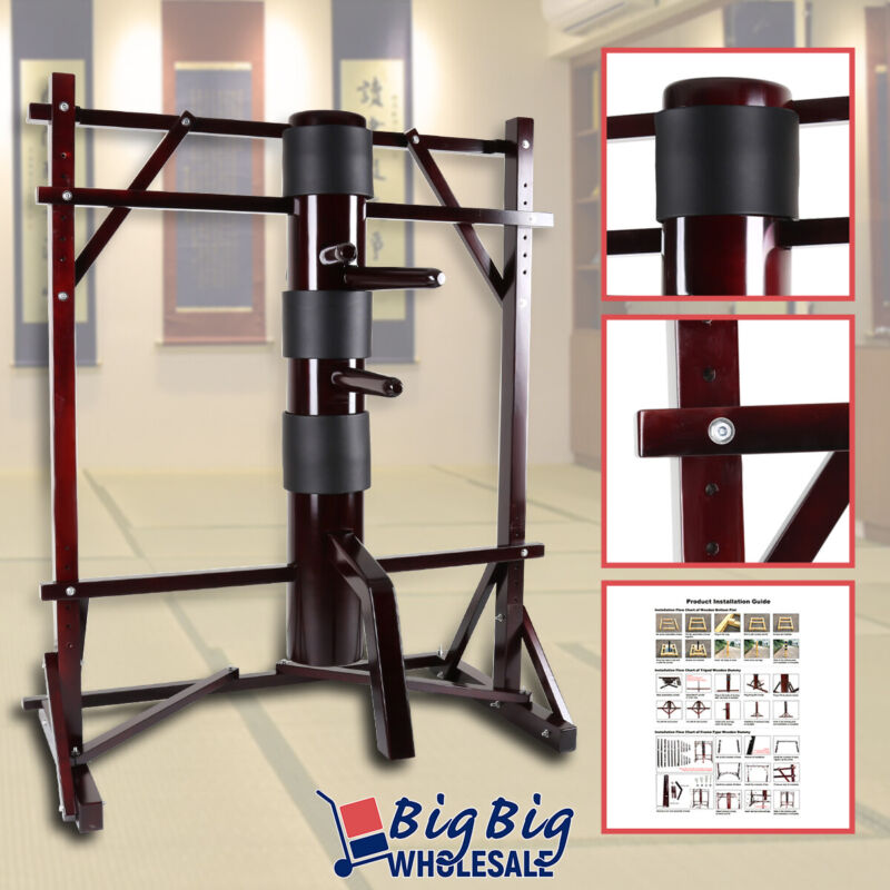 Wing Chun Wooden Dummy Frame Training Target Martial Arts Kung Fu Fight Practice