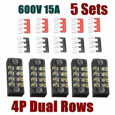 5pcs 600v 15a 4 Position Dual Row Screw Terminal Barrier Block Connector Strips