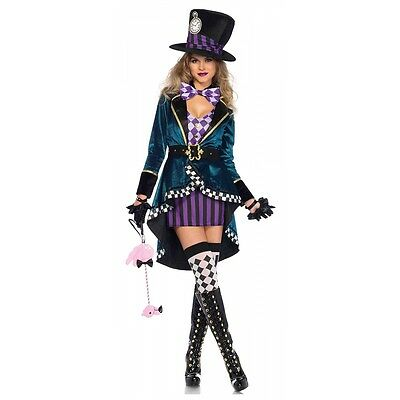 Mad Hatter Costume Adult Halloween Fancy Dress - Mad Hatter Woman Costume