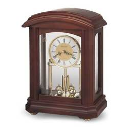 Bulova B1848 Nordale Walnut Finish Wood Mantel Table Clock