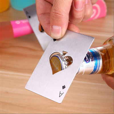 Stainless Steel Poker Ace Spades Bottle Beer Opener Card Cap Bar Soda Tool