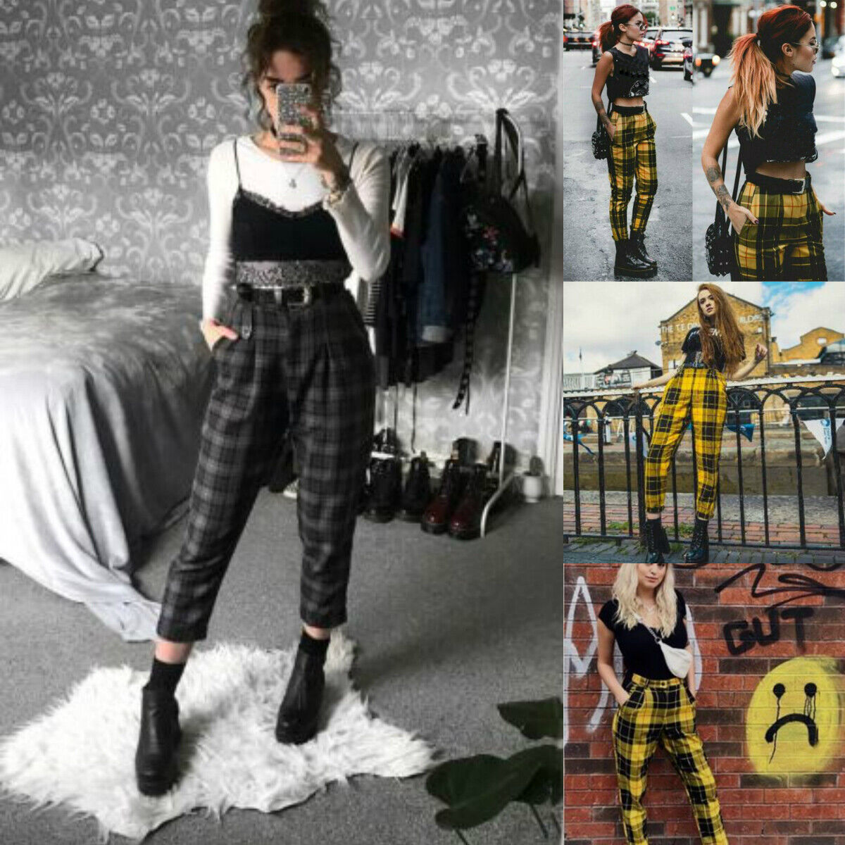 Summer Women Plaid Pants Streetwear Trousers Harem Joggers F