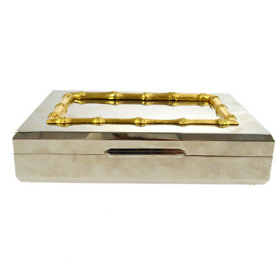 Authentic GUCCI Vintage GG Bumboo Jewelry Case Silver Gold Italy R11582