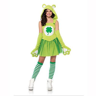 Green Care Bear Costume (Care Bears Green Good Luck Bear Juniors / Teen Child Costume Leg Avenue)