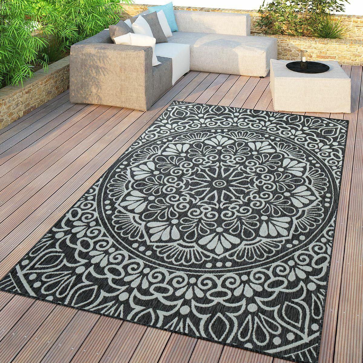 In- & Outdoor-Teppich, Für Balkon Und Terrasse Mit Orient-Design, In Schwarz