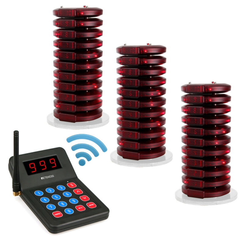 T119 Restaurant Paging System Queuing 30*Coaster Pagers Food Court Clinic Cafe