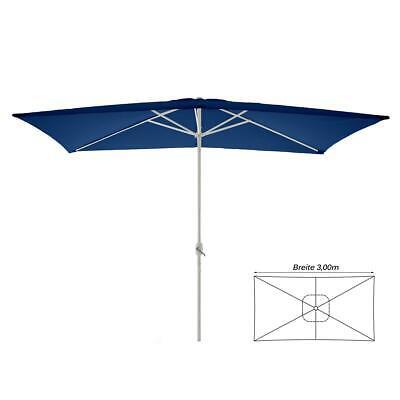 Marktschirm Sonnenschirm eckig 200 x 300 cm blau Polyester Höhe 235 cm Kurbel (Markt Sonnenschirm Blau)