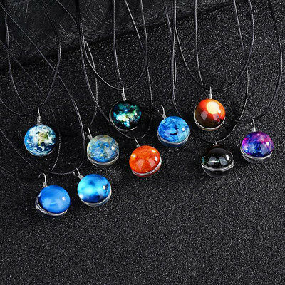 Retro Galaxy Universe Nebula Space Glass Ball Pendant Glow in the dark Necklace - Glow In The Dark Jewelry