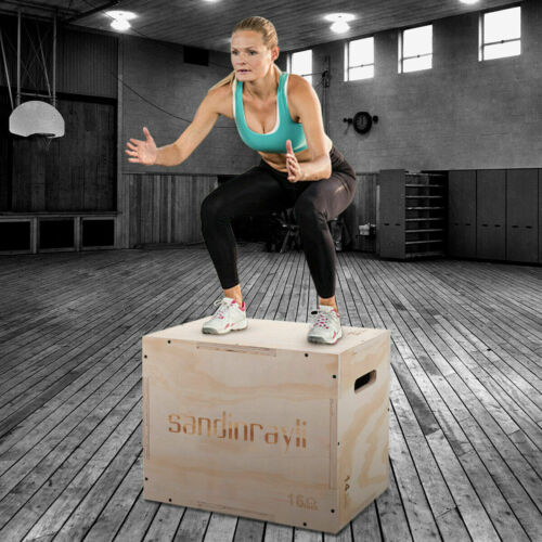 3-in-1 Wooden Fitness Plyometric Jump Box Gym Strength Training Jump Box