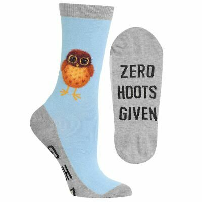 Zero Hoots Given Hot Sox Women's Crew Socks Lt Blue New Novelty Owl Fashion