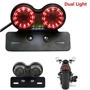 LED License Plate Brake Tail Turn Signal Dual Light For Motorcycle Bobber Cafe