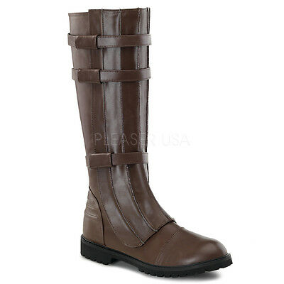 WAL130/BN/PU Men's Combat Military Fantasy Cosplay Brown Halloween Costume Boots