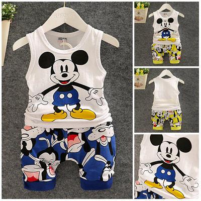 1 set baby Boys clothes cotton summer Top Tank + short pants kids outfits cute ()