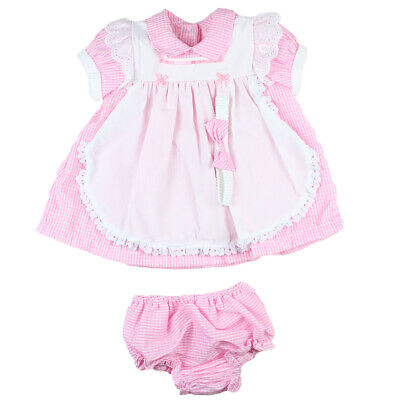 Rock a bye baby Sommerkleid & Haarband Gr.50 - 74  Weiß-Rosa   England NEU (Weiße Baby-sommer-kleid)