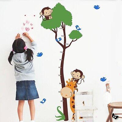 Monkey Giraffe Tree Height Measure Wall Sticker Kid Children Growth Chart US - Giraffe Growth Chart