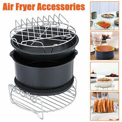 6pcs 8in Air Fryer Accessories Set Chips Cake Pizza Pan Skew