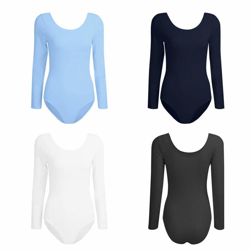 Women/'s Long Sleeve Scoop Neck Stretch Bodysuit Leotard Body Top T shirt Ballet